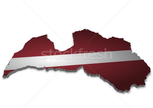 Lettország 3D skicc zászló város térkép Stock fotó © unkreatives