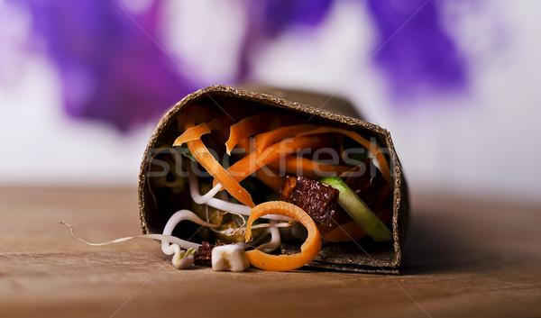 Rauw voedsel veganistisch groene pesto vruchten Stockfoto © unkreatives