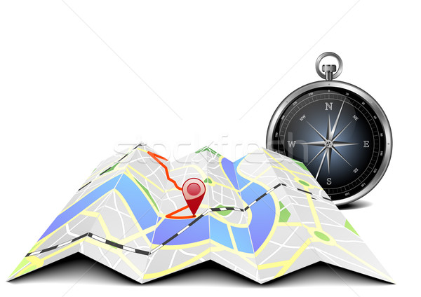 Stock photo: city map with compass