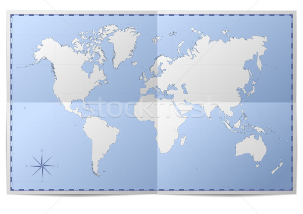 Foto stock: Mapa · do · mundo · ilustração · dobrado · papel · mar · projeto