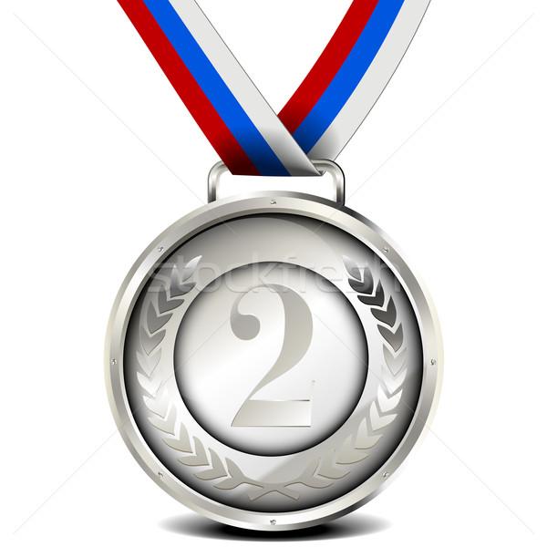 Plata medalla cinta ilustración laurel corona Foto stock © unkreatives