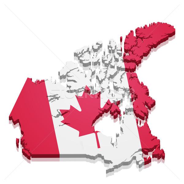 Mapa Canadá detalhado ilustração bandeira eps10 Foto stock © unkreatives