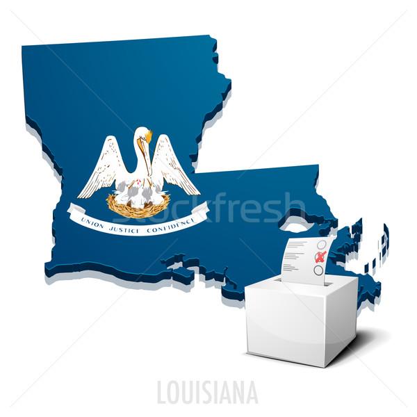 Ballotbox Map Louisiana Stock photo © unkreatives