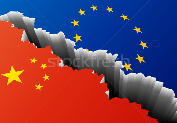 Europa China diep spleet gedetailleerd illustratie Stockfoto © unkreatives