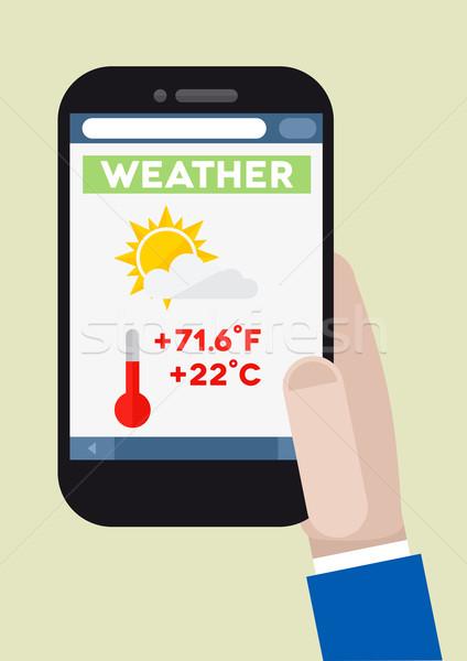 Téléphone météorologiques illustration smartphone courir Photo stock © unkreatives