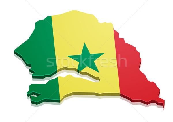 Carte Sénégal détaillée illustration pavillon eps10 Photo stock © unkreatives