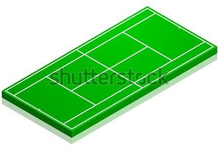 Quadra de tênis detalhado ilustração isométrica perspectiva eps10 Foto stock © unkreatives