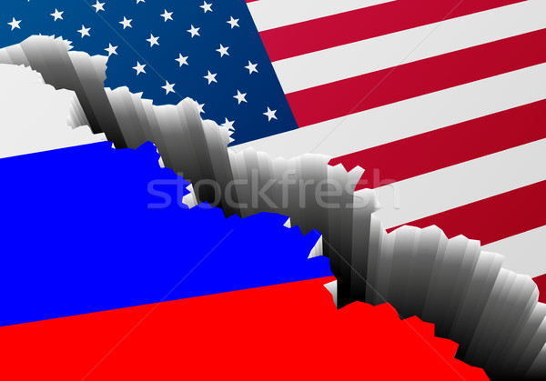 Flag USA Russia Crack Stock photo © unkreatives