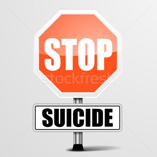 Arrêter suicide détaillée illustration rouge signe Photo stock © unkreatives