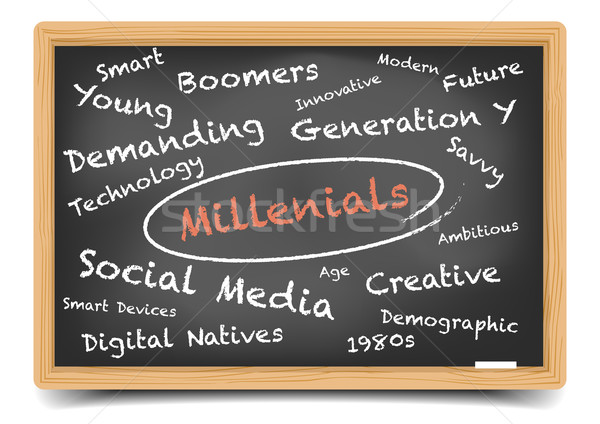 Blackboard Wordcloud Millennials Stock photo © unkreatives