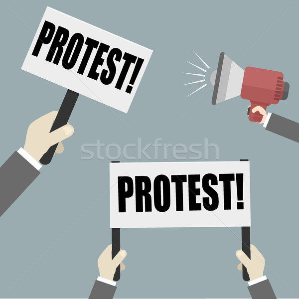 Protest illustratie handen lege Stockfoto © unkreatives