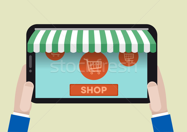 FLAT_tablet_shopping_02 Stock photo © unkreatives