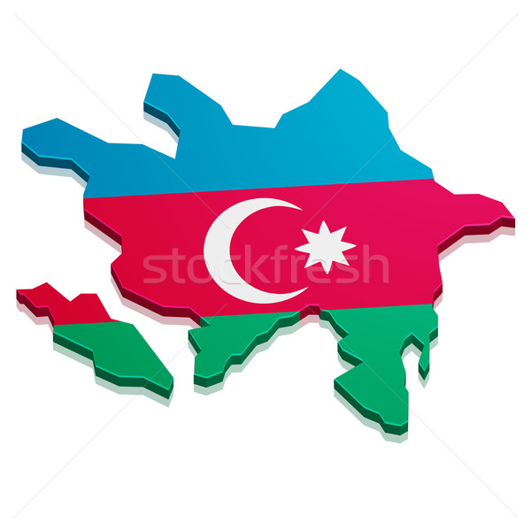 Mapa Azerbaiyán detallado ilustración bandera eps10 Foto stock © unkreatives
