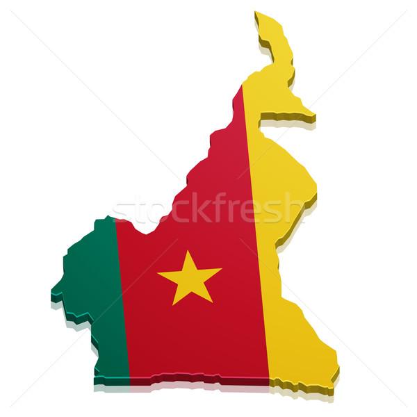 Mapa Camarões detalhado ilustração bandeira eps10 Foto stock © unkreatives