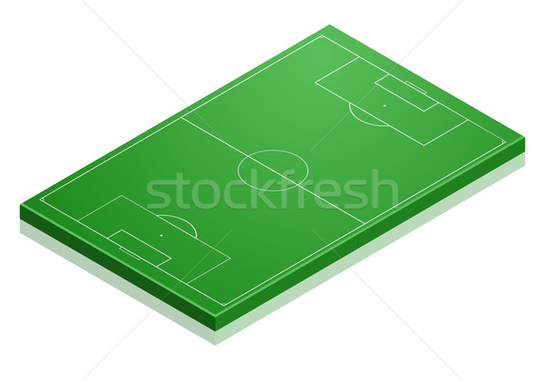 Stok fotoğraf: Futbol · sahası · ayrıntılı · örnek · izometrik · perspektif · eps10