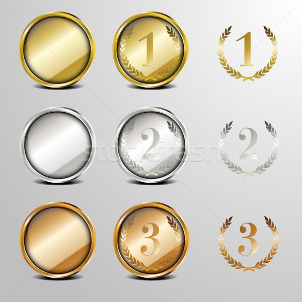 Médaille laurier couronne nombre Photo stock © unkreatives