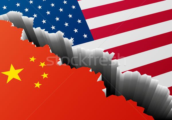 Mély törés Kína USA részletes illusztráció Stock fotó © unkreatives