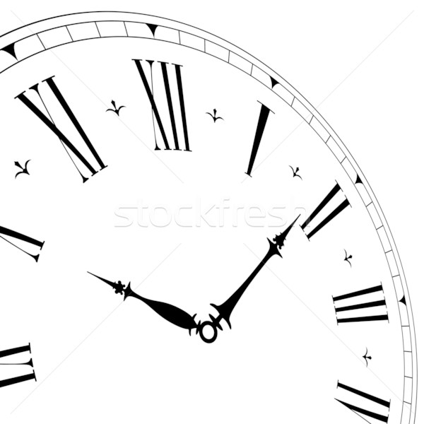 old clock face with perspective vector illustration