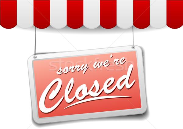 Signo cerrado detallado ilustración rojo tienda Foto stock © unkreatives
