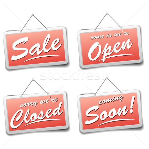 Tienda signos detallado ilustración rojo signo Foto stock © unkreatives