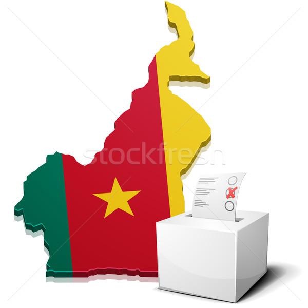 Kameroen gedetailleerd illustratie kaart eps10 vector Stockfoto © unkreatives