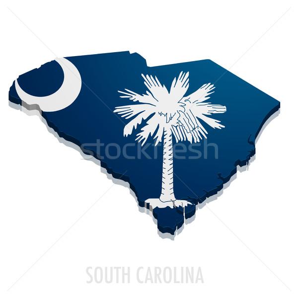 Mappa Carolina del Sud dettagliato illustrazione bandiera eps10 Foto d'archivio © unkreatives