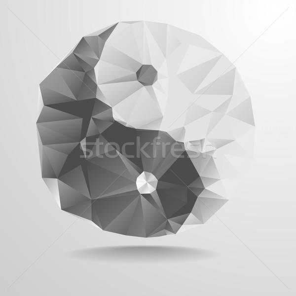 Poligono yin yang dettagliato illustrazione simbolo eps10 Foto d'archivio © unkreatives