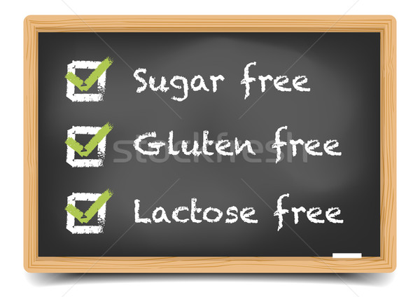 Blackboard suiker gluten lactose gedetailleerd illustratie Stockfoto © unkreatives