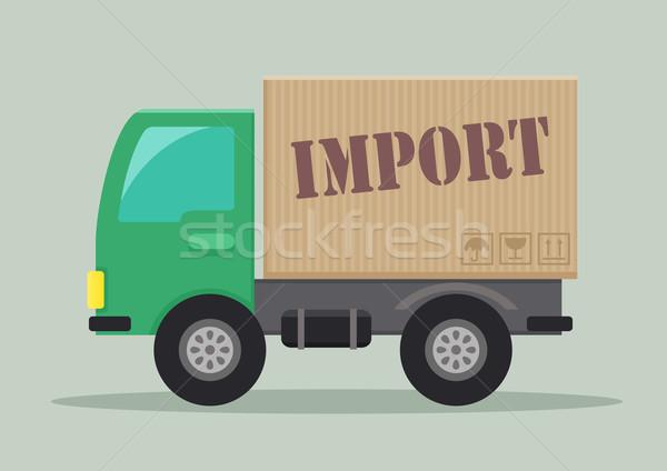 Zdjęcia stock: Samochód · dostawczy · import · szczegółowy · ilustracja · etykiety · eps10