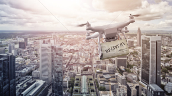 multicopter drone with package over Frankfurt am Main Stock photo © unkreatives