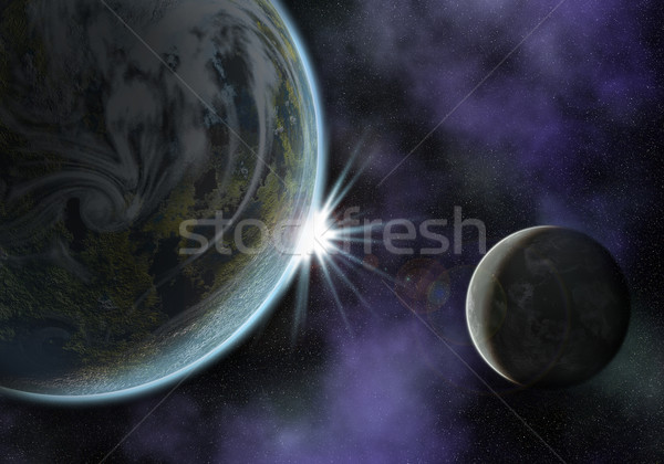 planet with moon Stock photo © unkreatives