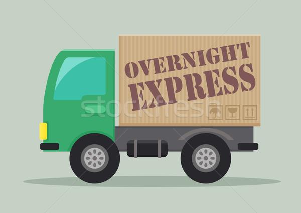 Szállítóautó expressz részletes illusztráció címke eps10 Stock fotó © unkreatives