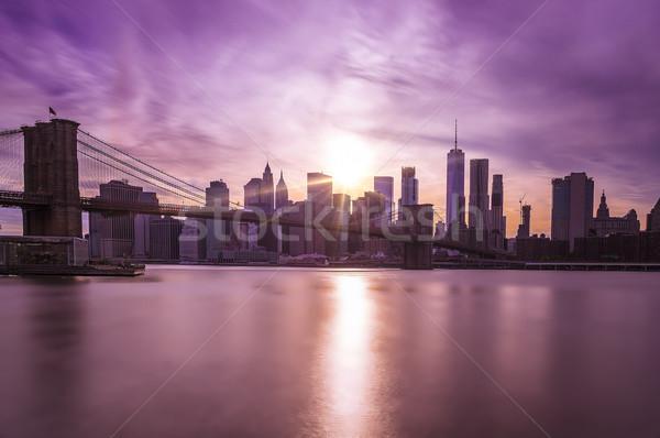 Manhattan Skyline with Brooklyn Bridge Stock photo © unkreatives