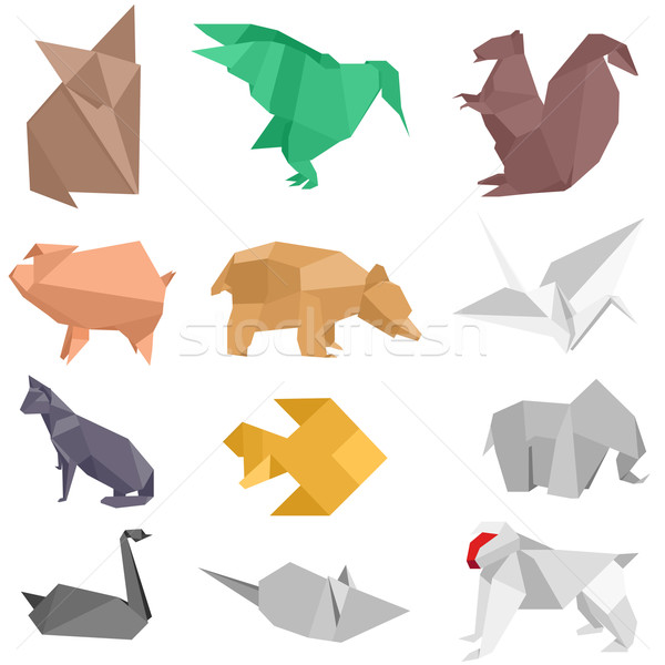 Origami créatures illustrations différent animaux design Photo stock © unkreatives