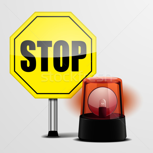 Stop Sign with Flashing Light Stock photo © unkreatives