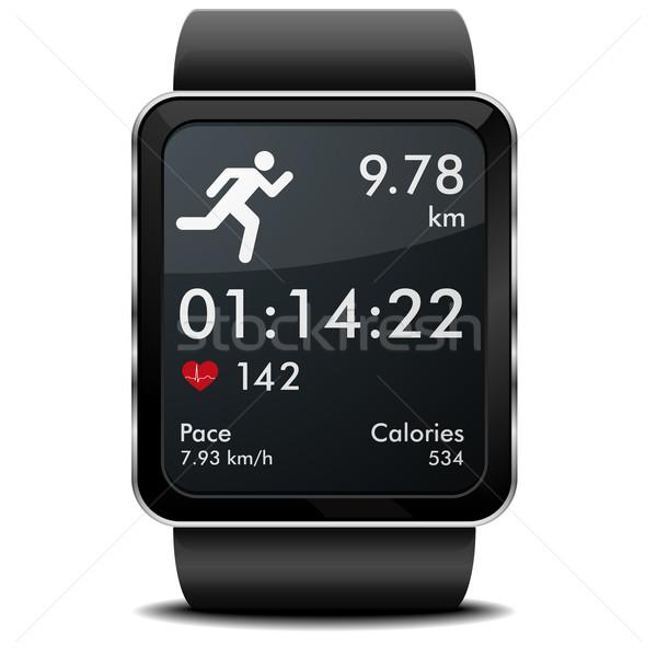 Correr fitness detalhado ilustração aplicativo freqüência cardíaca Foto stock © unkreatives