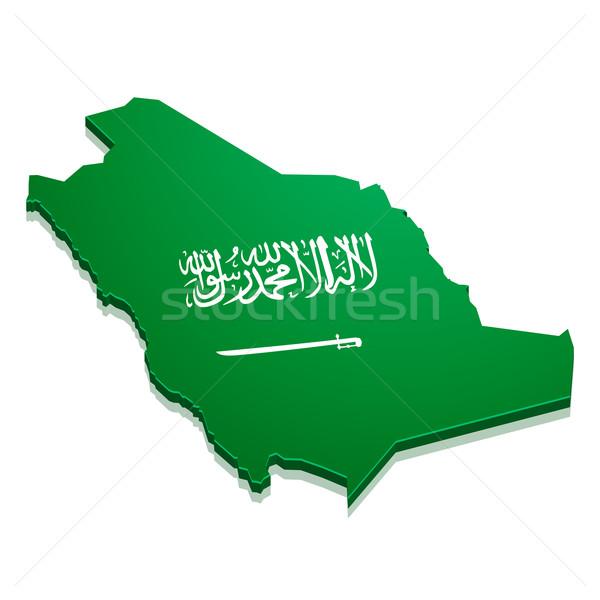 Harita Suudi Arabistan ayrıntılı örnek bayrak eps10 Stok fotoğraf © unkreatives