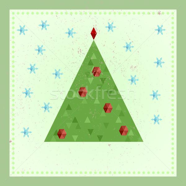 Géométrique arbre de noël stylisé flocons de neige vintage Photo stock © unkreatives