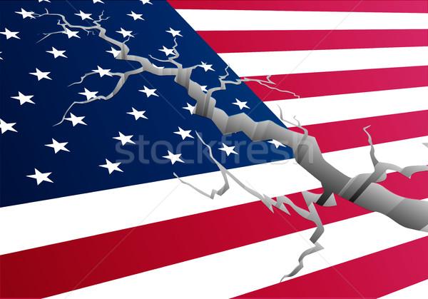 Vlag USA diep spleet gedetailleerd illustratie Stockfoto © unkreatives