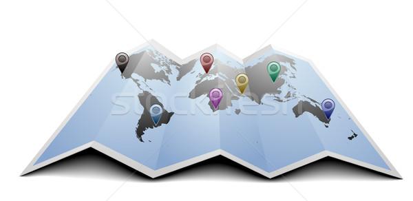 Foto stock: Mapa · do · mundo · ilustração · gps · símbolos · dobrado · papel
