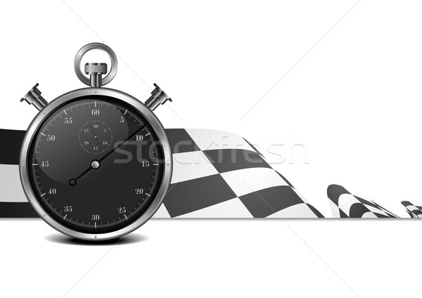 racing flag with stop watch Stock photo © unkreatives