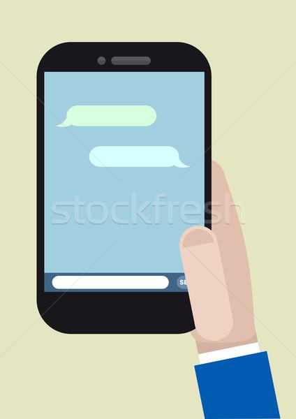 Telefon mesajlaşma minimalist örnek çalışma Stok fotoğraf © unkreatives
