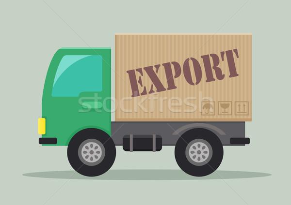 Camion de livraison exporter détaillée illustration étiquette eps10 Photo stock © unkreatives