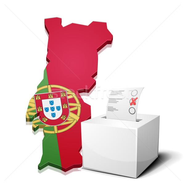 Portugal détaillée illustration carte eps10 vecteur Photo stock © unkreatives