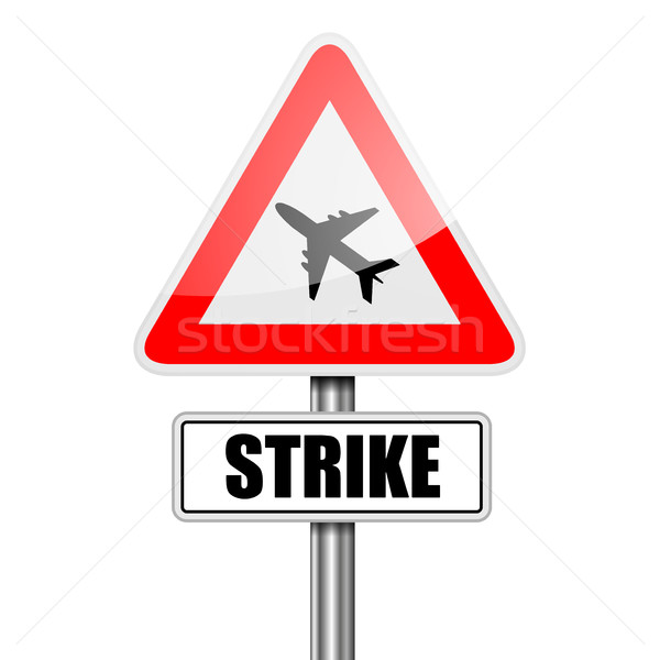 Sign Airplane Strike Stock photo © unkreatives