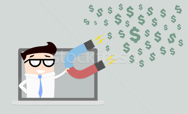 businessman attracting dollars Stock photo © unkreatives