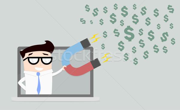 businessman attracting dollars Stock photo © unkreatives