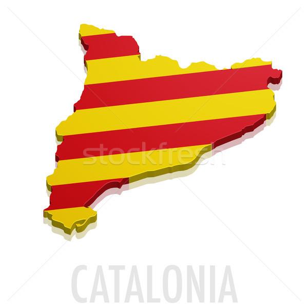 Stock fotó: 3D · térkép · részletes · illusztráció · zászló · eps10