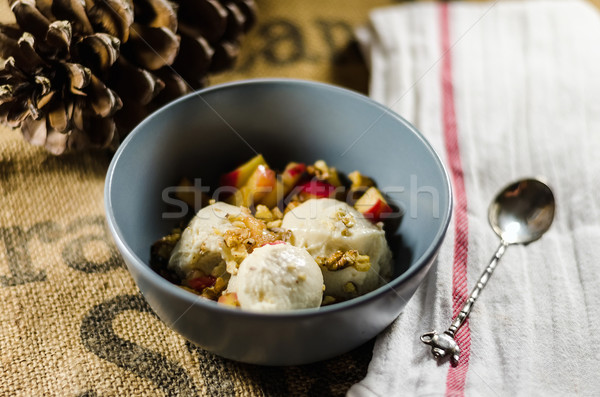 Yogurt; Cut Fruits And Nuts In Bowl Stock photo © unkreatives