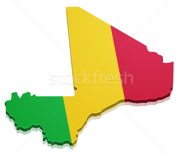 Foto d'archivio: Mappa · Mali · dettagliato · illustrazione · mail · bandiera